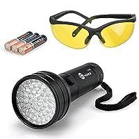 Brighter UV Flashlight, TaoTronics 51 UV Black Light, Pet Odor Detector 395nm (Free UV Glasses and Duracell Battery )