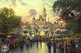 24x36 Thomas Kinkade Disney Art Print on Cotton Canvas - Disneyland 50th Anniversary
