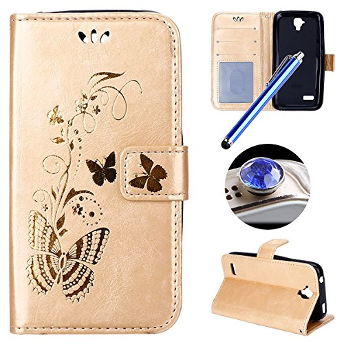 Etsue Huawei Y5 Cover,Huawei Y560 Custodia in Pelle,Donna Uomo Ultra Slim Fit Sottile Leather PU Portafoglio Case Cover,Wallet/Libro/Flip Semplice Personalizzato Style Elegante Bella Butterfly Oro Gold Puro in Pelle Cover Con Cinghia Creativo Magnetica chiusura Per Huawei Y560/Y5+Blu Stylus Pen e scintillio di Bling Diamond Dust Plug colora casuale-&Gold&