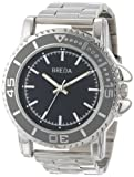 Breda Mens 8175-Silver Eddie Oversized Bold Metal Watch