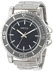Breda Men's 8175-Silver Eddie Oversized Bold Metal Watch
