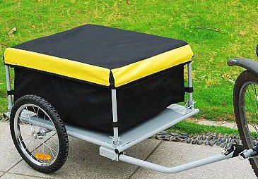 Aosom Elite Bike Cargo / Gear Trailer w/ Removable Cover - Black / Yellow