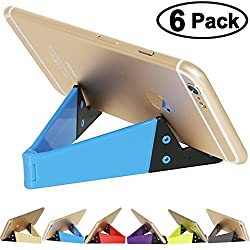 Pack of 6, Pocket-sized V Smart Phone Holder Tablet Stands - HONSKY Universal Portable Foldable Plastic Small Cellphone Holders, Tablet Stand, Smartphone Mounts, Mobile Cell Phone Mount, iPad Mini Tab Pad Stands, Durable Plas