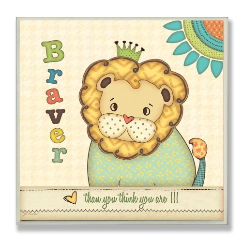 The Kids Room by Stupell Braver Than You Think You Are with Lion Square Wall Plaque