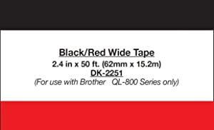 """Brother Genuine DK-2251 Continuous Length Replacement Labels, Black/Red Label on White Paper Tape, Engineered with Excellence, 2.4"""" x 50 feet, 1 Roll per Box (Color: Red on White)"""
