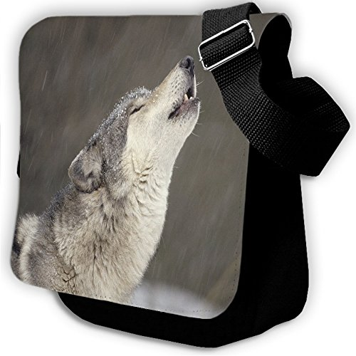 Animali 10015, Lupo, Unisex Nero Sublimazione Borsa a tracolla Reporter Bag con Spallacci regolabili e Motivo Colorato.Dimensione:Small-22x18x5cm