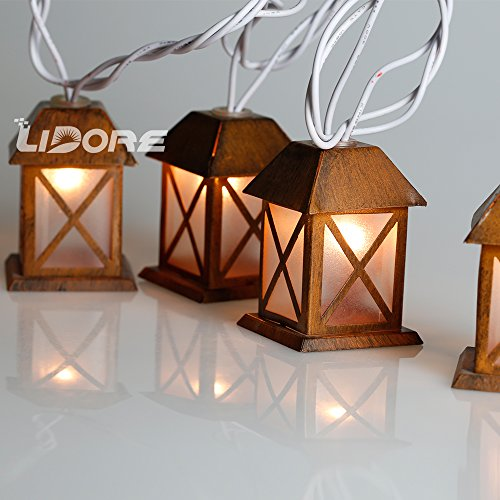 LIDORE Set of 10 Warm White Glow Bronze Metal House Shaped Lantern Plug-in String Light - For indoor/outdoor 3