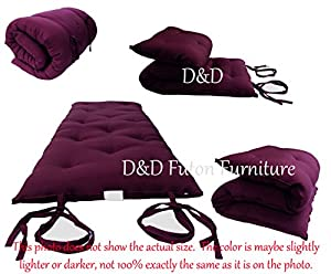 "Brand New Burgundy Traditional Japanese Floor Futon Mattresses 3""thick X 30""wide X 80""long, Foldable Cushion Mats, Yoga, Meditaion."