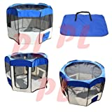Large Pet Dog Cat Indoor Outdoor Play Pen Cage Excercise Yard Pen W/ Case-BLUE