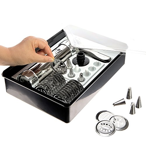 Cookie Press Kit, Includes Storage Case with 25 Seasonal Discs & 8 Icing Tips, Plus FREE Recipes, Helpful Tips and How To Use Videos. DKST Kitchen's Highest Quality Spritz Dough Gun Biscuit Maker (Press Kit compare prices)