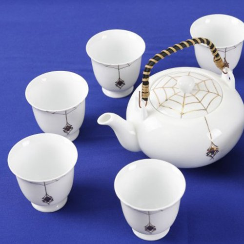 hand-painted white marble kung fu tea set loop handle teapot