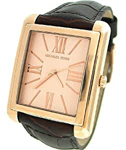 New MICHAEL KORS MK2243 Women's Rose Gold Tone Brown Leather Band Watch