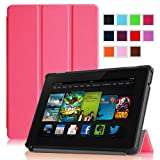 """Fintie Amazon All New Kindle Fire HD 7"""" SmartShell Case Cover Ultra Slim Lightweight with Auto Sleep / Wake Feature - Magenta (will only fit All New Kindle Fire HD 7 2nd Generation 2013 Model)"""