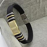 Time Pawnshop Personality Titanium Steel Classic Black Silicone Wrist Bracelet for Men (Gold)