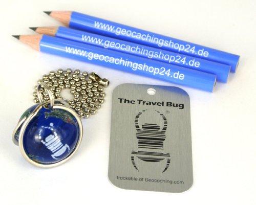 Original geocaching.com Travel Bug Murmel (Marble) als Set mit 3 Geocaching Bleistiften