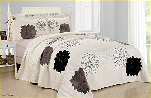 3pcs High Quality Fully Quilted Embroidery Quilts Bedspread Bed Coverlets Cover Set , Queen King (King) (High Quality Quilts compare prices)
