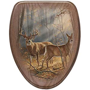 Comfort Seats C1B2E1-737-17ABWhitetail Deer In Summer Elongated Oak Toilet Seat, Antique Brass