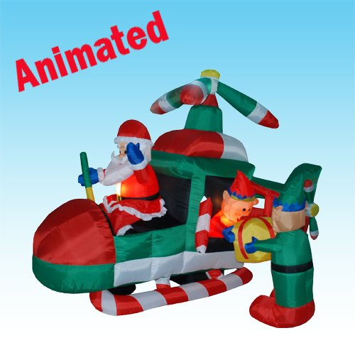 8 Foot ANIMATED Christmas Inflatable Santa Claus Driving Helicopter Blow up Yard Decoration