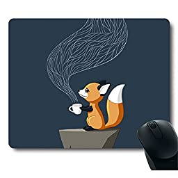 Fox Drinking Tea personalized Customized Cute Unique Design Rectangle Mouse Pad