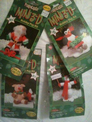Foamtastic Mini 3D Holiday Foam Fun Kit Set of 4 Christmas Snowman Santa Raindeer Penguin