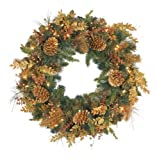 GKI/Bethlehem Lighting Radiant Gold 30-Inch Christmas Wreath with 50 Clear Mini Lights