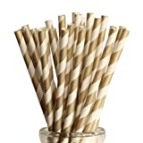 GOLD Candy Stripe, Vintage Paper Drinking Straws - 100 Ct.