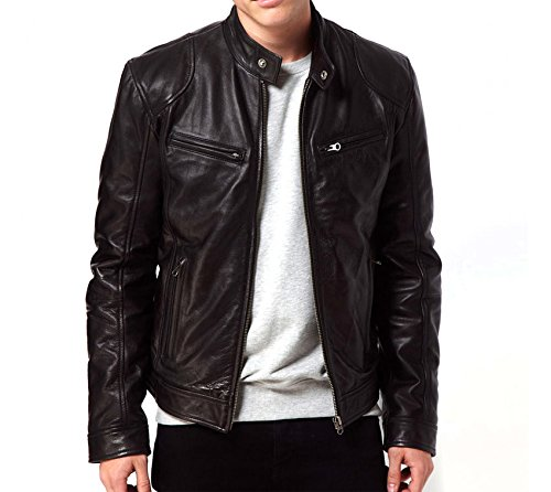 Gordania Men's Faux Leather Slim Fit Zipper Design Jackets (GD274B_Black_Large)