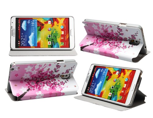 Boriyuan Fashion Luxury Flower And Butterfly Holder Case Cover For Samsung Galaxy Note 3 Iii N900 / N9000/ N9005