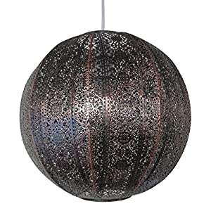 30cm Moroccan metal globe pendant bronze effect easy fit ceiling light decoration by 117503