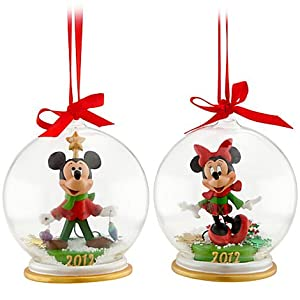 Minnie and Mickey Mouse Snowglobe Ornament Set - Holiday 2012 by Disney