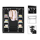 Armoire-penderie-noire-en-tissu-Garde-robe-3-portes-et-fermeture-Zip