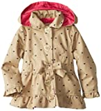 Pink Platinum Girls 2-6X Polka Hearts Trench Rain Jacket, Khaki, 4T