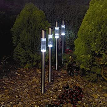 20x very tall stainless steel solar powered garden lights for Tall landscape lights