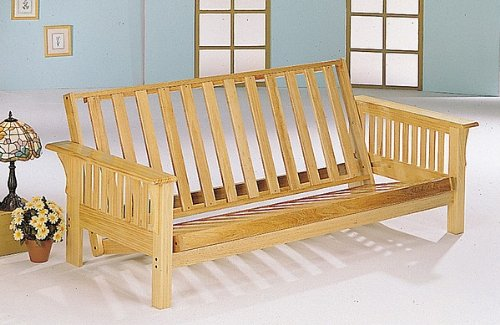 Cheap All Wood Futon In Mission Style Oak Finish Sofa