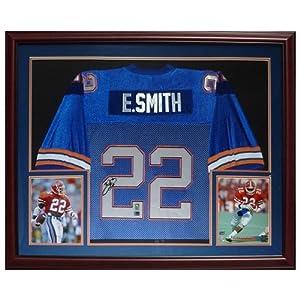 Emmitt Smith Autographed Florida Gators (Blue #22) Deluxe Framed Jersey - Emmitt Holo by PalmBeachAutographs.com