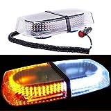 DIYAH 240 LED Law Enforcement Emergency Hazard Warning LED Mini Bar Strobe Light with Magnetic Base (Amber and White)