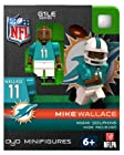 Compatable with Lego's Minifigures, NFL Miami Dolphins - #11 Mike Wallace. Wide Reciever Limited Edition Generation One Limited Edition OYO Minifigure. Part of the 2013 Season Football Oyos. Figure Comes with a Football, Dolphins Helmet, Removable Face Mask, Water Bottle and Stand with Unique OYO DNA Number.