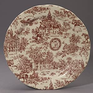 Red Americana Dinner Plate Toile Colonial Scenes USA