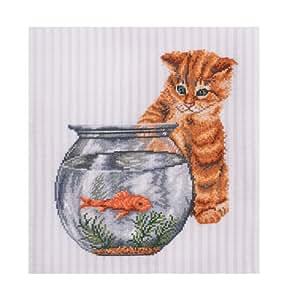 Dmc kit point de croix compt le chat et le poisson for Kit poisson rouge