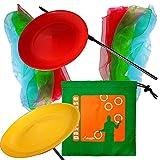 Kit de malabares dos placas de plástico con los palillos y 6 Pañuelos malabares con una bolsa de nylon giratorio. colores al azar