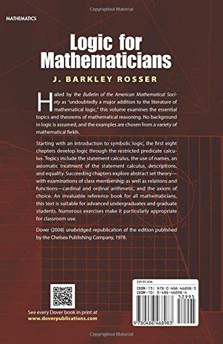 Logic for Mathematicians (Dover Books on Mathematics)