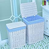 juanjuan Classic Tall White Rattan Storage Basket with Blue Lining