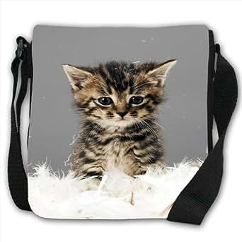 Cute Kitten Cat Small Black Canvas Shoulder Bag / Handbag