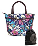JAVOedge Colorful Blue, Pink, and White Double Pocket Floral Pattern Lunch Bag Tote with Zipper and Handle + Bonus Bag