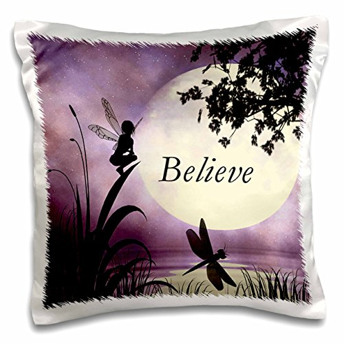 3dRose Believe, Fairy with Dragonflies with Moon and Purple Sky-Pillow Case, 16 by 16