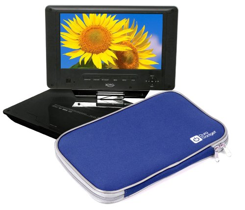 """Duragadget Navy Blue """"Travel"""" Water Repellent Neoprene Sleeve With Double Zipper For Hsn New 9.8"""" Tft Portable Dvd Evd Cd Player Mp3 Mp4 Game Sd Usb Slots, Xoro Bd1000 10.1"""" Portable Blu Ray Player, Bush Portable Dvd Player 10 Inch Widescreen"""