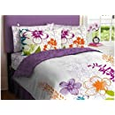Purple Green Orange White Girls Multi Flower Queen Comforter Set 7 Piece Bed In A Bag