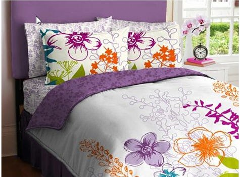 Purple, Green, Orange & White Girls Multi Flower Full Comforter Set (7 Piece Bed In A Bag)