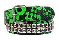 Snap On Art work Skull Cross Bone Tattoo Print Punk Rock Studded Leather Belt Size: M/L - 36 Color: Green/Black