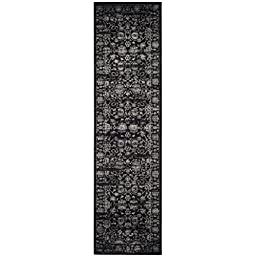 Safavieh Vintage Collection VTG442P Black and Light Grey Runner, 2 feet 2 inches by 8 feet (2\'2\